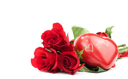 Red roses with heart Royalty Free Stock Images