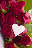 Red roses with heart Royalty Free Stock Photo