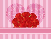 Red Roses Heart Greeting Card. Dozen Red Rose Flowers for Valentines or Mothers Day on Pink Stripes Pattern Background Illustration Royalty Free Stock Images