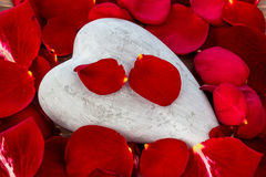 Red roses with heart. love for valentine's day Royalty Free Stock Photo