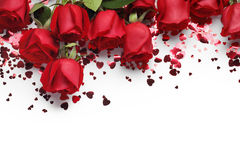 Red roses and heart shape ornaments Stock Photo