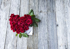Red roses in heart shape Royalty Free Stock Photography