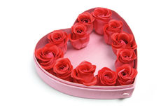 Red Roses in Heart-Shaped Box Stock Photography