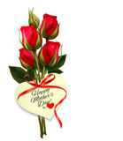 Red roses with a heart-shaped Happy Mother's Day note Stock Photo