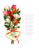 Red roses with a heart-shaped Happy Mother`s Day note Stock Photos