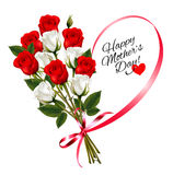 Red roses with a heart-shaped Happy Mother`s Day note royalty free illustration