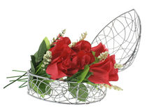 Red Roses in Heart-Shaped Metal Box Royalty Free Stock Photos