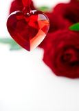 Red roses  and heart for Valentine's Day Royalty Free Stock Image