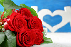 Red roses and heart on Valentines Day. With space for text Royalty Free Stock Images