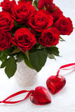 Red roses and hearts Royalty Free Stock Images