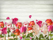 Red roses with Hearts. EPS 10. Red roses with Hearts on wooden background. EPS 10 vector file included Royalty Free Stock Photos