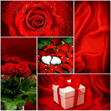 Red roses. Hearts. Gift box. Valentines Day Royalty Free Stock Images