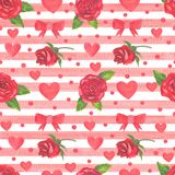 Red roses and hearts seamless pattern. Stock Photography