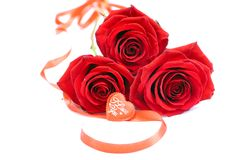Red roses with hearts for Valentine isolated on a white backgrou Stock Image