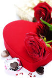 Red roses and hearts for Valentine's Day Royalty Free Stock Photos
