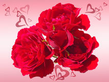 Red roses with hearts (Valentine's day) Stock Photography