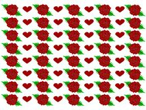Red roses with red hearts - Vector stock illustration