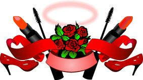 Red Roses, High Heels, Lipstick, Mascara, Scroll And Nimbus - Womans Essence. Stock Photo