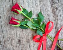 Red roses for the holiday of love and happiness. Mother`s Day, St. Valentine`s Day, birthday, red roses on a wooden table and a gift stock photo