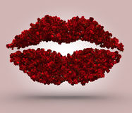 Red Roses Kiss. 3d render of lips made of red roses placed on a pink background stock illustration