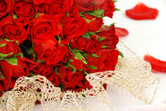 Red roses and a lace Royalty Free Stock Photography