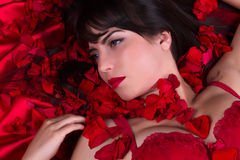 Red roses and lips Stock Photos