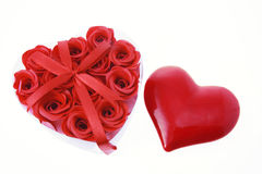 Red Roses and Love Heart Stock Images