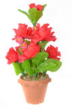 Red roses made of fabric in a vase Stock Image