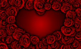 Red roses making heart shape Royalty Free Stock Photos