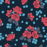 Red roses and myosotis flowers on dark blue background. Seamless pattern. Vector illustartion.  Stock Images