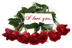 Red roses with note I love you. This roses bouquet is ideal for some celebration date Royalty Free Stock Photo