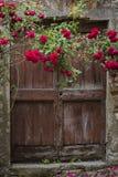 Red Roses and Old Door in Mombaldone, Piedmont Stock Photos