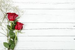 Roses on wood stock image