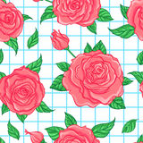 Red Roses over white background. Seamless elegant vintage floral Royalty Free Stock Image