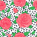 Red Roses over white background. Seamless elegant vintage floral Stock Images
