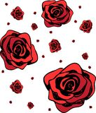 Red Roses Pattern Isolated. Red roses isolated set. Hand-drawn design of holiday card, banner, invitation, wrapping or creative decoration. For women, Valentine` Royalty Free Stock Photos