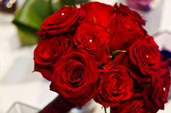 Red roses and pearls bouquet Royalty Free Stock Photo