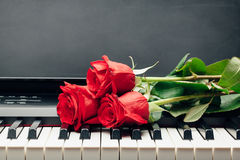 Red roses on piano keys. With copy-space Stock Photo