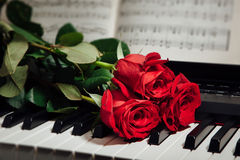 Red roses on piano keys and music book. Closeup view Royalty Free Stock Images