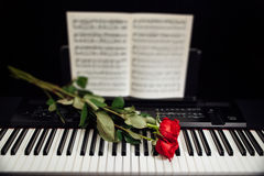 Red roses on piano keys and music book. Red roses on electronic piano keys and music book Stock Photo