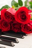 Red roses piano keys romantic background. Royalty Free Stock Image