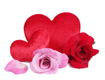 Red roses with pillow heart image Stock Image