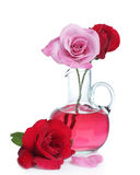 Red roses and pink rose with glass vase Royalty Free Stock Images