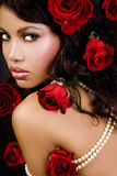 Red Roses Princess. Gorgeous African beauty as roses Princess Royalty Free Stock Photo