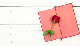 Red roses and red diary on white wooden background Stock Images