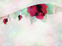 Red roses and ribbon Stock Photo