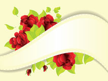 Red roses and ribbon Stock Images