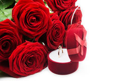 Red roses and ring with box Stock Images
