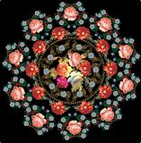 Red roses round design on black Royalty Free Stock Image