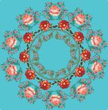 Red roses round design on blue Stock Photos